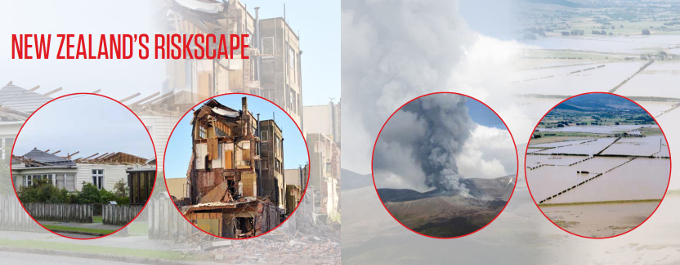 A photographic illustration that conveys the range of natural hazards covered by RiskScape software.